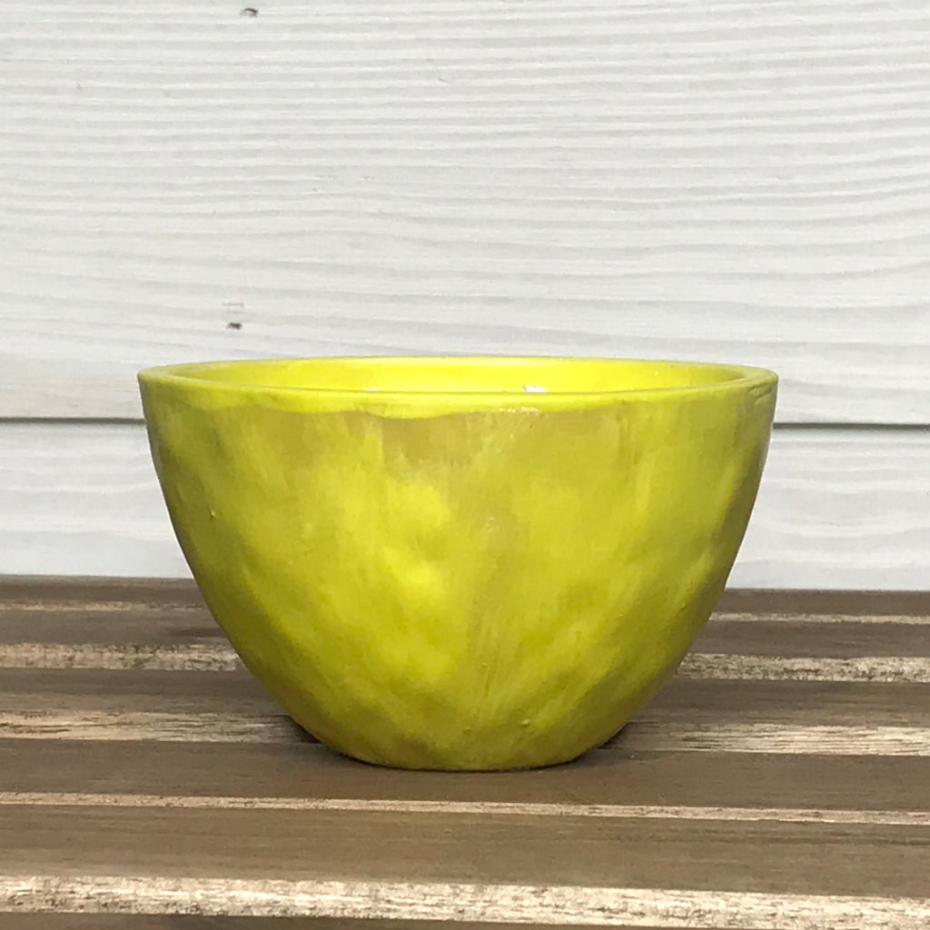 Natural State (Apple, Maple & Bourbon) Candle in Small Ceramic Bowl -- Chartreuse
