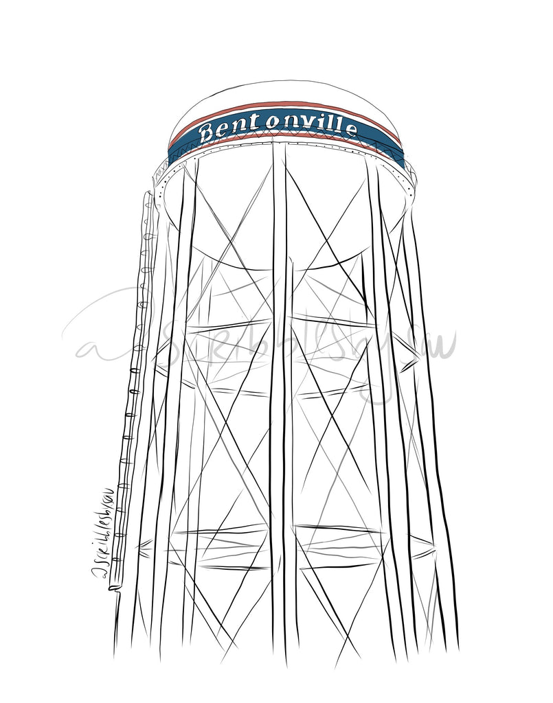 Bentonville Water Tower Print 8x10