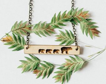 Mama Bear and Three Cubs Bar Necklace/light