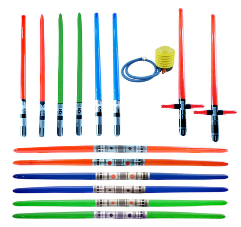14 Premium Inflatable Sabers w/ Air Pump (Multi 14-Pack + Foot Air Pump)