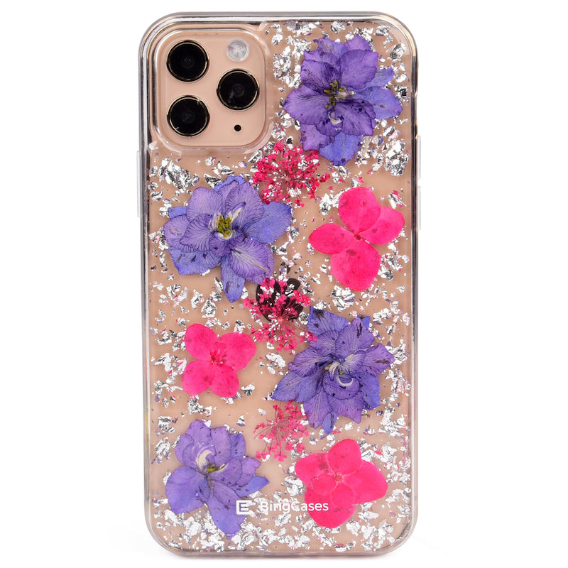Purple Lavender Pressed Silver Flakes iPhone Case