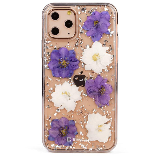 Purple White Petals Pressed Flower iPhone 11 Case