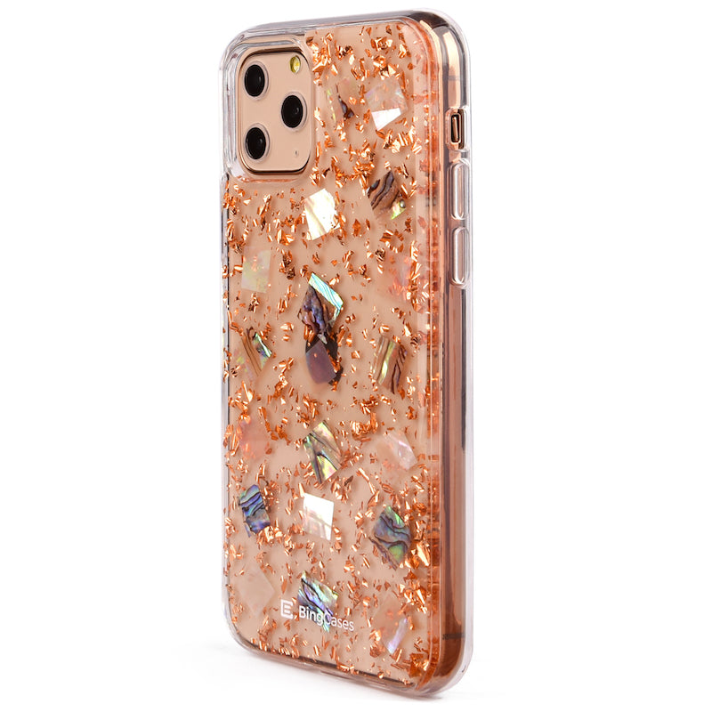 Mother of Pearl Rosegold Flakes iPhone Case