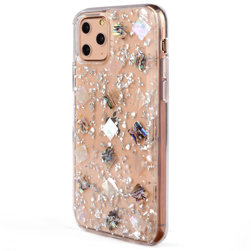 Mother of Pearl Silver Flakes iPhone Case