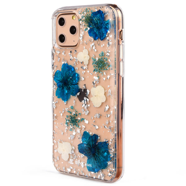 Blue White Petals Pressed Flower iPhone Case