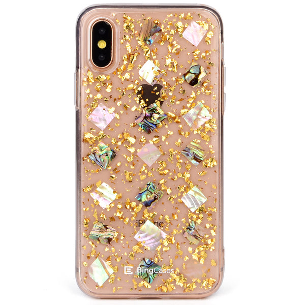 Mother of Pearl Gold Flakes iPhone Case