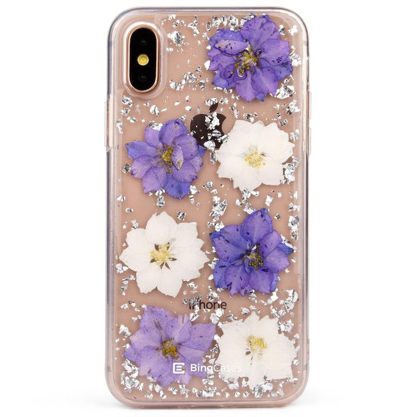 Purple White Petals Pressed Flower iPhone X Case