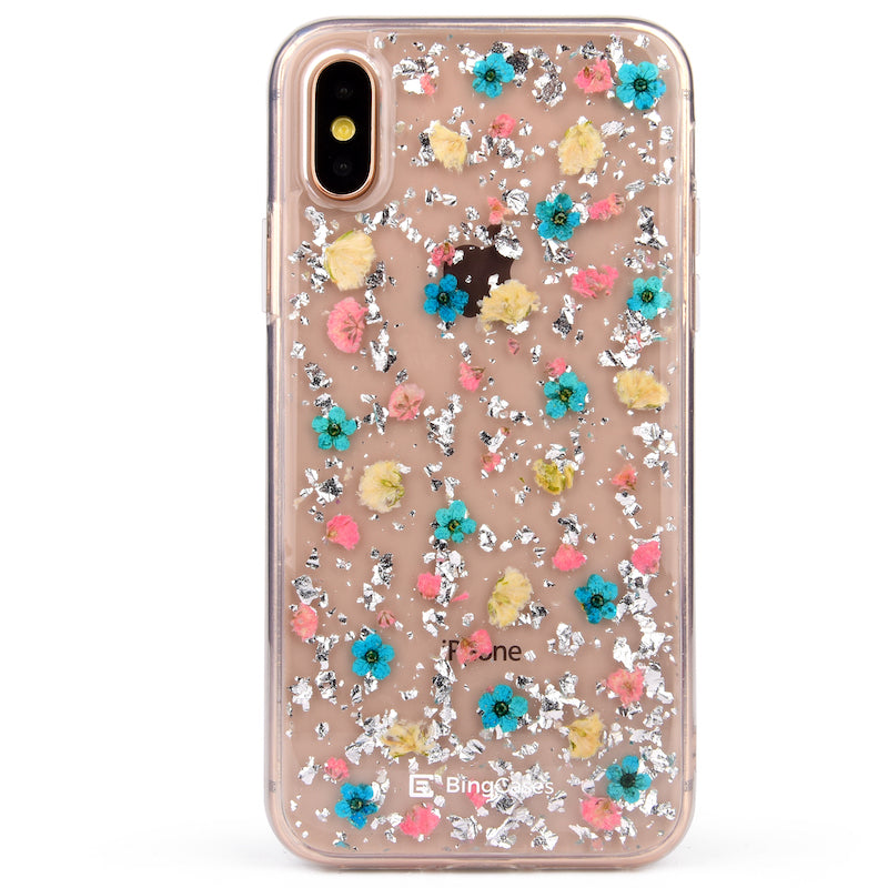 Petite Silver Flakes Pressed Floral iPhone Case