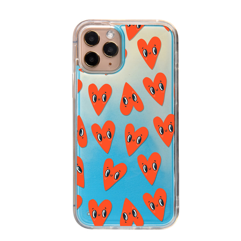 Eyes Hearts Neon Sand iPhone Case