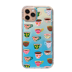 Artistic Teacups Neon Sand iPhone Case