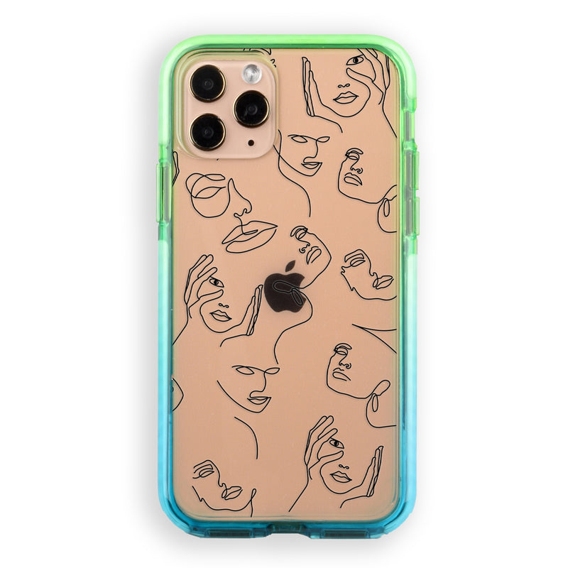 Abstract Faces Outline Impact iPhone Case