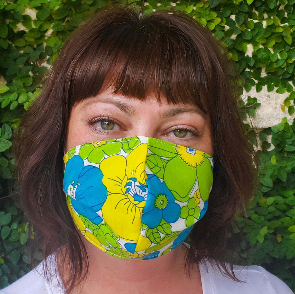Reversible handmade masks by Anne Marie Beard. Handmade in Austin, Texas, Y'all!