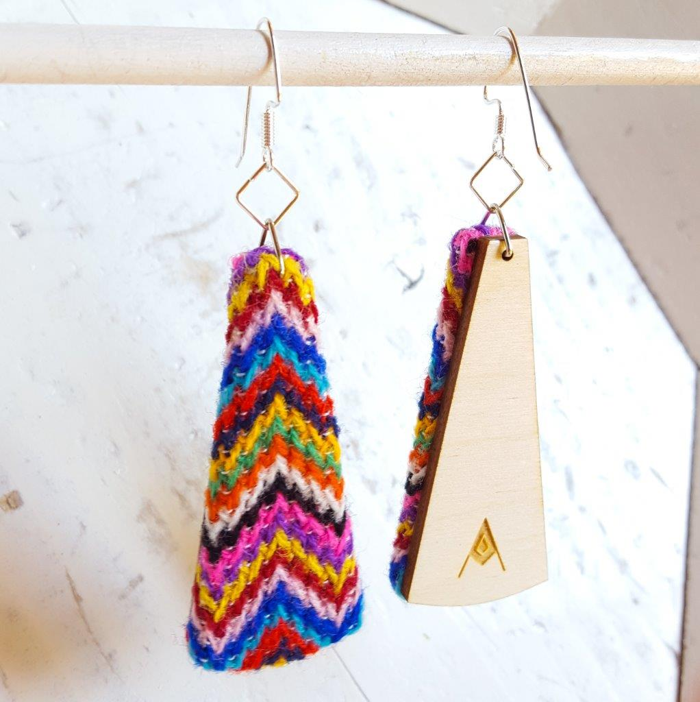 Sweater Knit 1970s Chevron ZigZag Rainbow Sustainable Textile Earrings made from vintage fabric. Sustainable handmade by jewelry designer Anne Marie Beard in Austin, Texas.