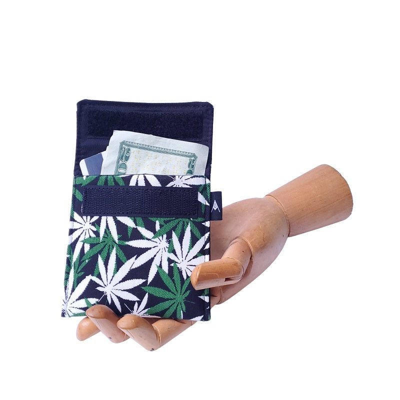 Hemp leaf Print Velcro Mini Wallet by Anne Marie Beard. Handmade in Austin, Texas since 2004 y'all! annemarie mini wallet austin texas