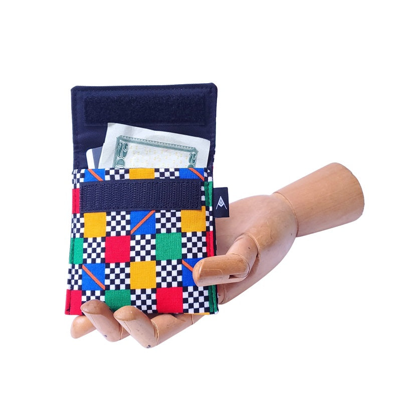 Racer checkered Print Velcro Mini Wallet by Anne Marie Beard. Handmade in Austin, Texas since 2004 y'all! annemarie mini wallet austin texas