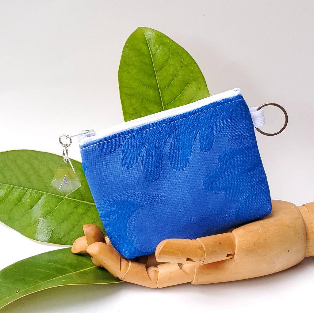 Sacred Fruit Silver with Blue Embroidered Vagina Vulva Wallet by Anne Marie Beard. Handmade in Austin, Texas since 2002 y'all! annemarie mini wallet austin texas