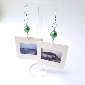 Slide Earrings - Green Beads
