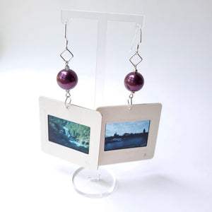 Slide Earrings - Plum Beads