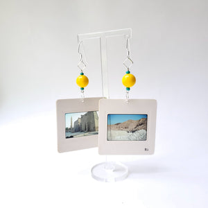 Slide Earrings - Yellow Beads