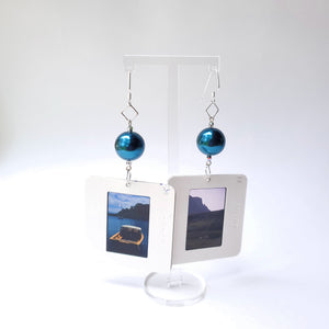 Slide Earrings - Blue Beads