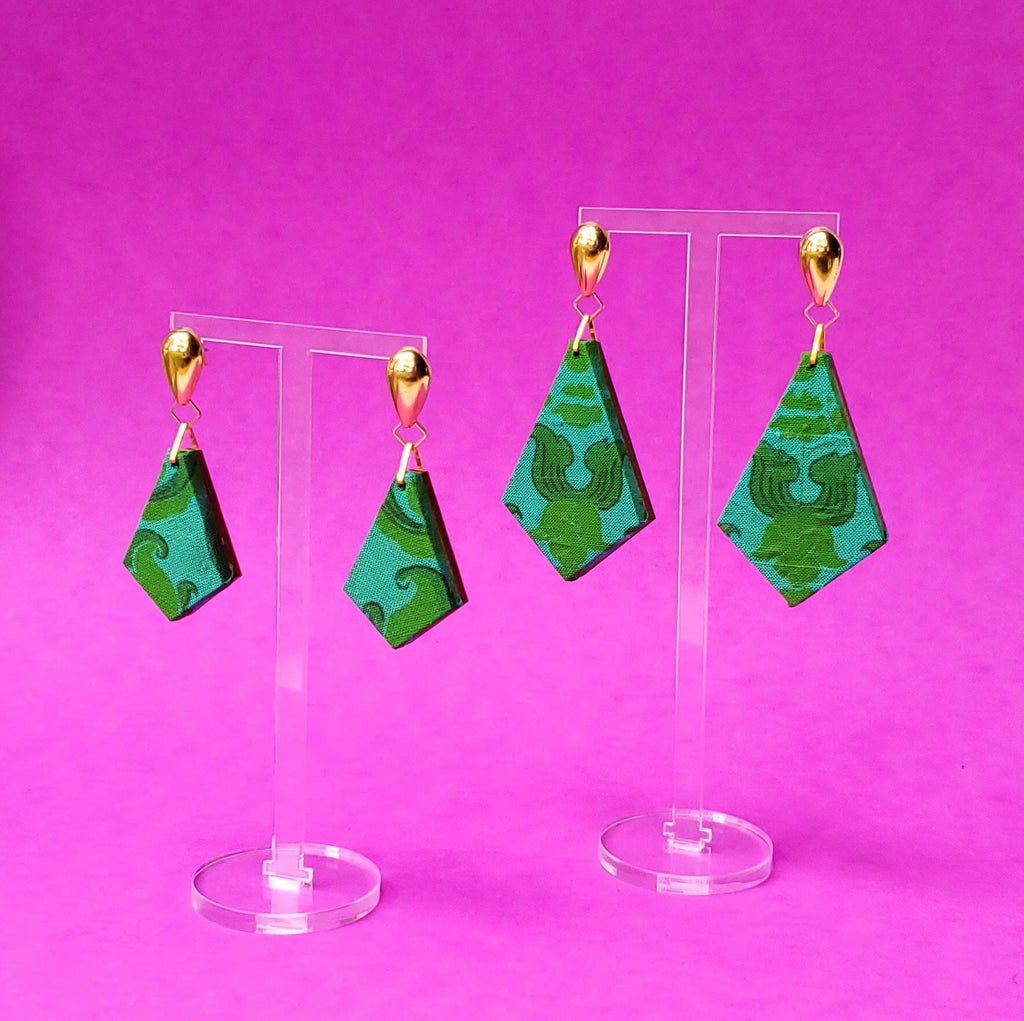 Emerald Green Silk fabric sustainable textile earrings. Handmade by designer Anne Marie Beard in Austin, Texas