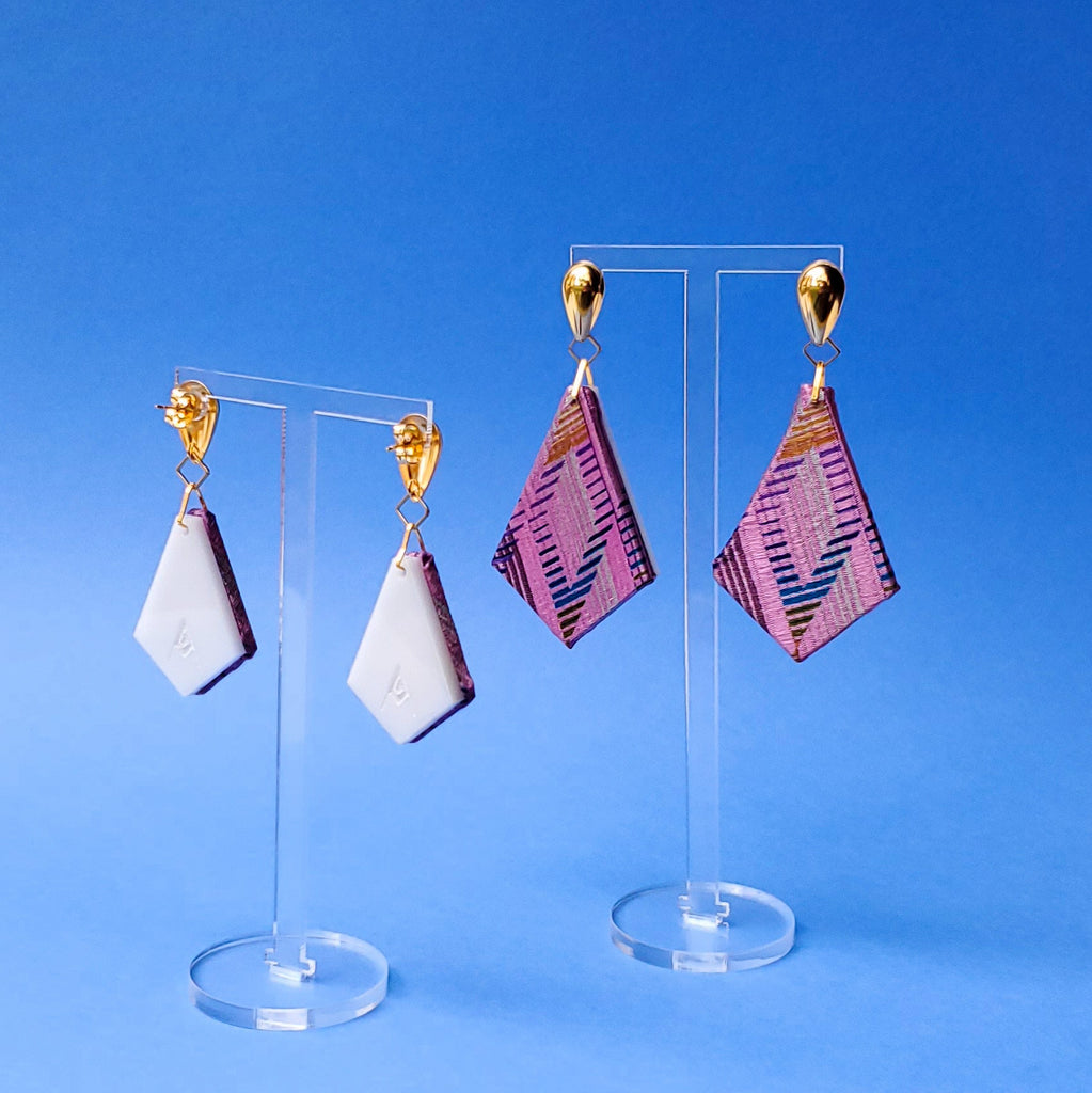 Mauve Diamond Print recycled necktie sustainable textile earrings. Handmade by designer Anne Marie Beard in Austin, Texas