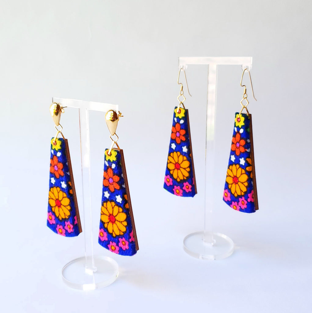 1970s orange & blue flower power Sustainable Textile Earrings made from vintage fabric. Sustainable handmade by jewelry designer Anne Marie Beard in Austin, Texas.