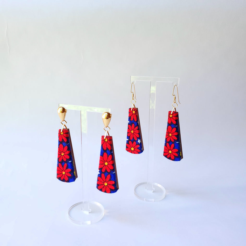 1970s red & blue flower power Sustainable Textile Earrings made from vintage fabric. Sustainable handmade by jewelry designer Anne Marie Beard in Austin, Texas.
