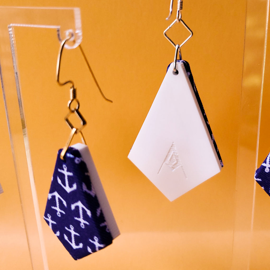 Anchors Away Necktie fabric textile earrings. Handmade by designer Anne Marie Beard in Austin, Texas. Go Navy!