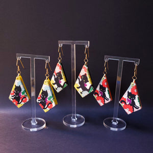 Textile Earrings - Black Kittens
