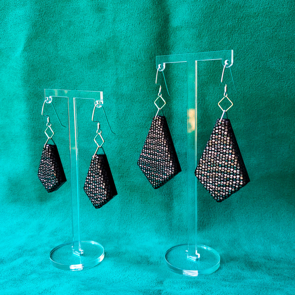 Black Shimmer Sustainable Textile Earrings made from fashion waste. Sustainable handmade by jewelry designer Anne Marie Beard in Austin, Texas.