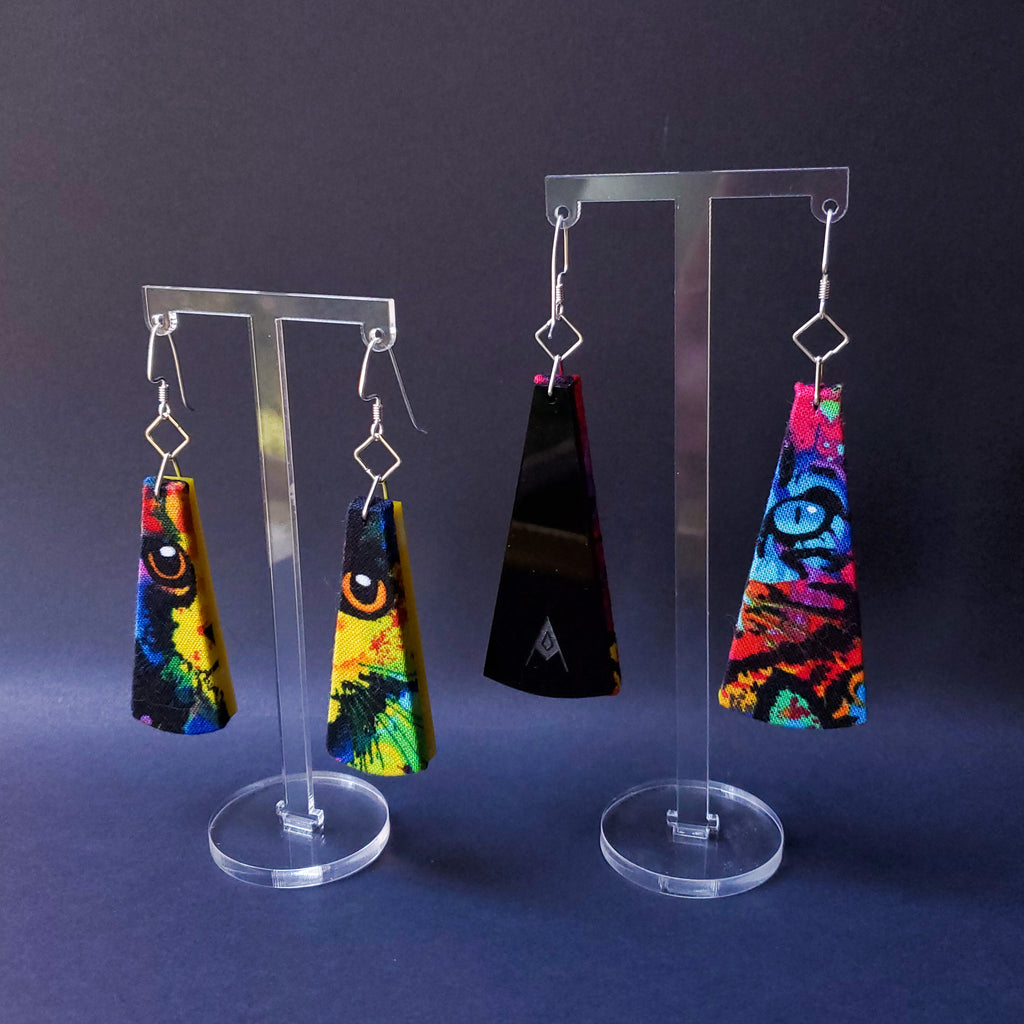 Cat Eye Sustainable Textile Earrings made from fashion waste and out of print fabrics. Handmade by jewelry designer Anne Marie Beard in Austin, Texas. Handmade in Austin, TX since 2012, y'all.