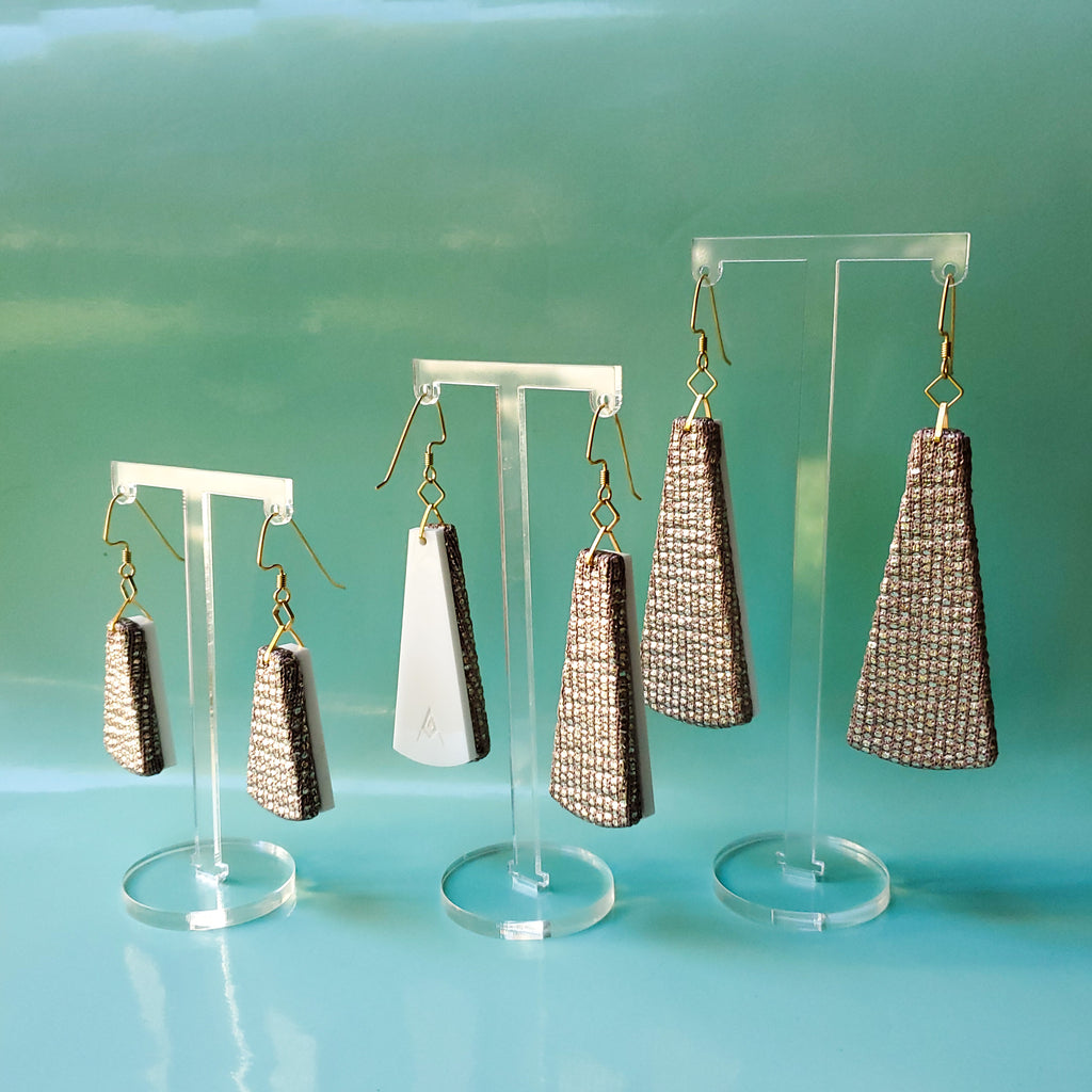 Golden Shimmer Recycled Textile Earrings. Handmade by designer Anne Marie Beard in Austin, Texas.