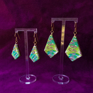 Textile Earrings - Feedsack Leaves