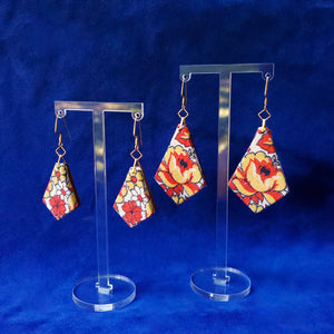 Textile Earrings - Red & Yellow Roses