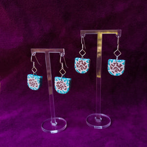 Textile Earrings - Feedsack Snails
