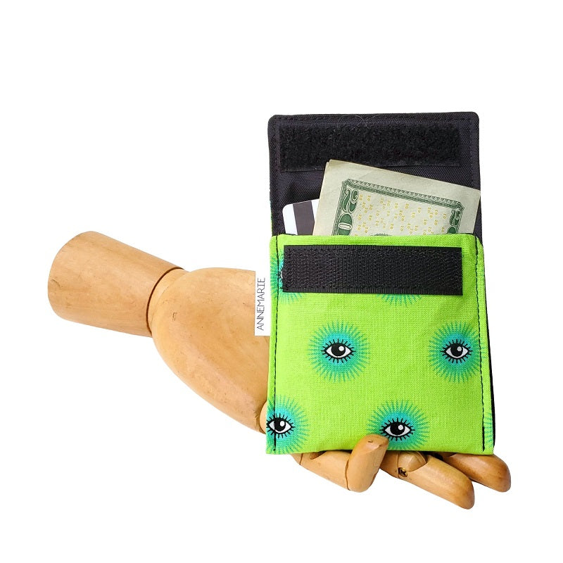 Eye print on green fabric Velcro Mini Wallet by Anne Marie Beard. Handmade in Austin, Texas since 2004 y'all! annemarie mini wallet austin texas
