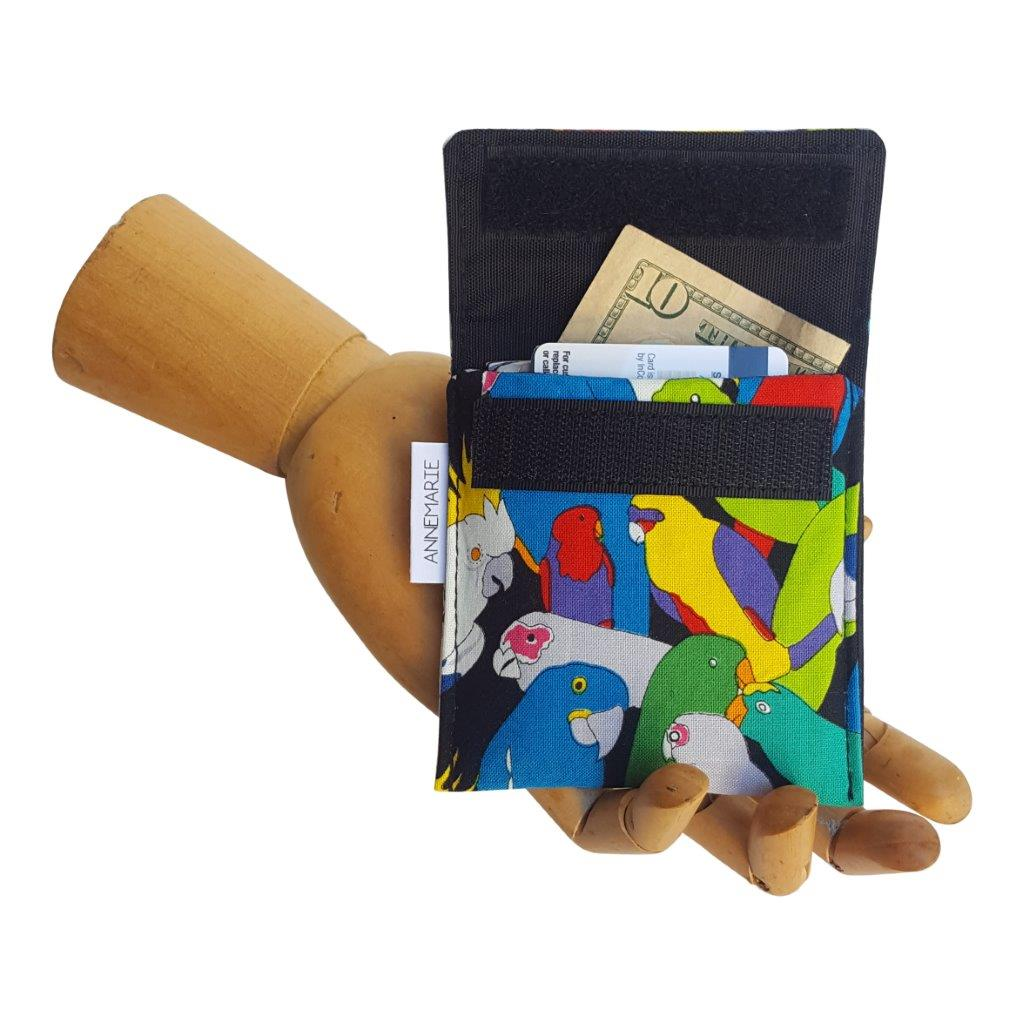 Parrot print fabric Velcro Mini Wallet by Anne Marie Beard. Handmade in Austin, Texas since 2004 y'all! annemarie mini wallet austin texas