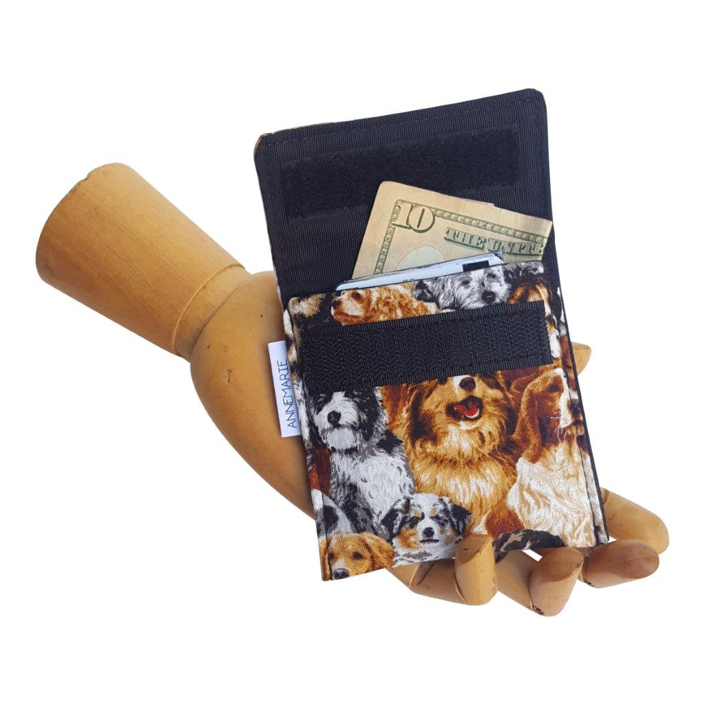 Puppy Print Fabric Velcro Mini Wallet by Anne Marie Beard. Handmade in Austin, Texas since 2004 y'all! annemarie mini wallet austin texas