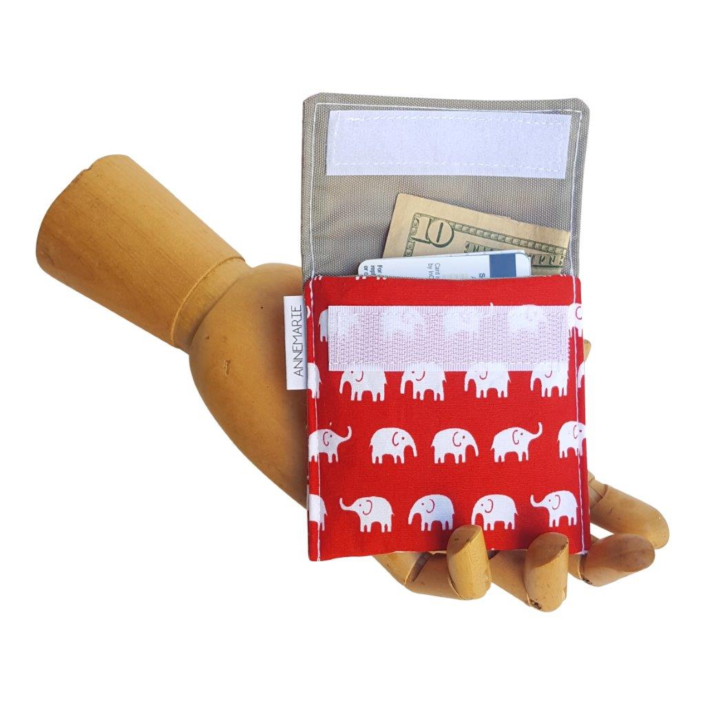Red and White Elephant Print fabric Velcro Mini Wallet by Anne Marie Beard. Handmade in Austin, Texas since 2004 y'all! annemarie mini wallet austin texas