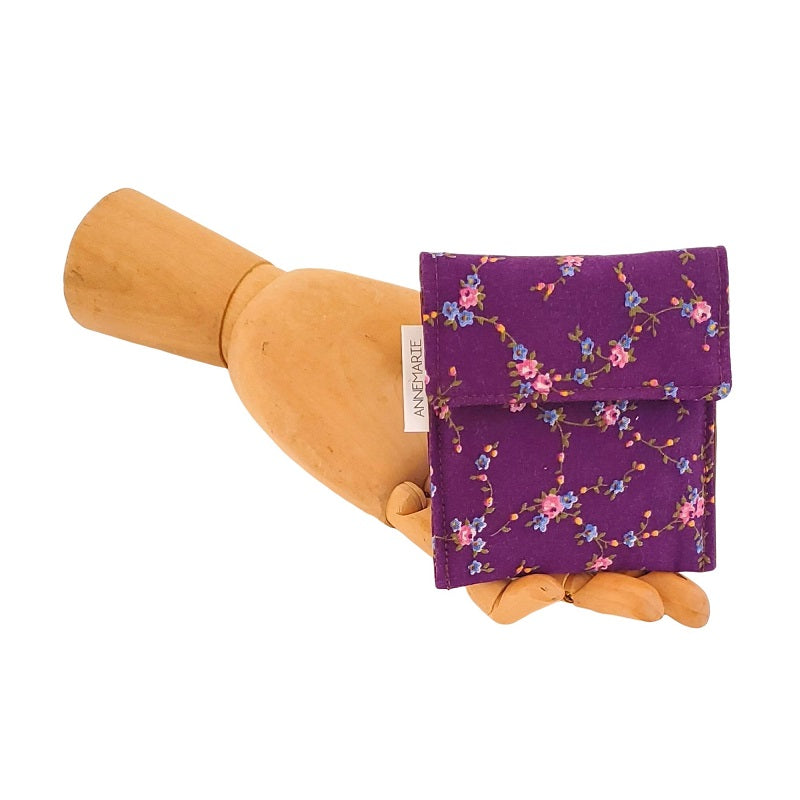 Pink Flowers on Purple - Vintage fabric Velcro Mini Wallet by Anne Marie Beard. Handmade in Austin, Texas since 2004 y'all! annemarie mini wallet austin texas