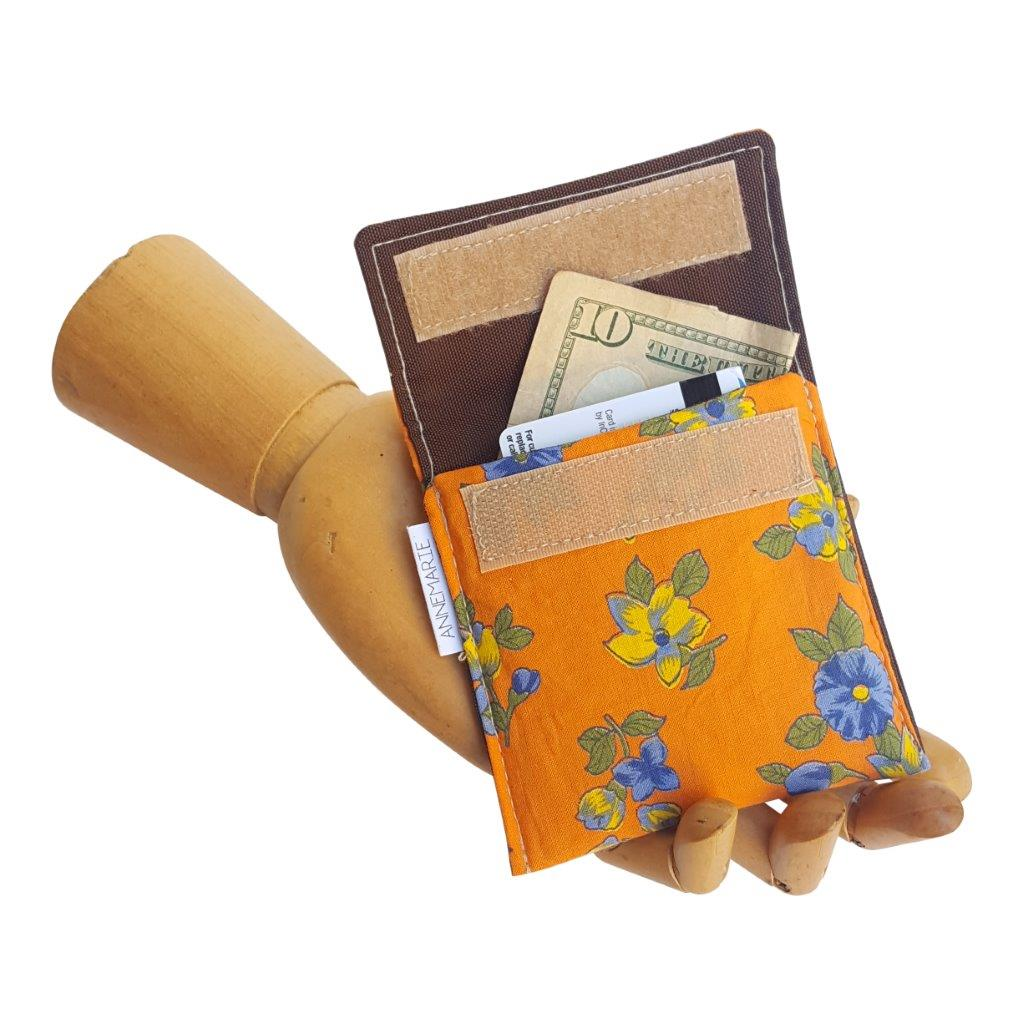 Orange floral vintage fabric Velcro Mini Wallet by Anne Marie Beard. Handmade in Austin, Texas since 2004 y'all! annemarie mini wallet austin texas