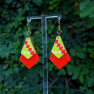 Textile Earrings - Stacked Diamonds - Electric Geometric