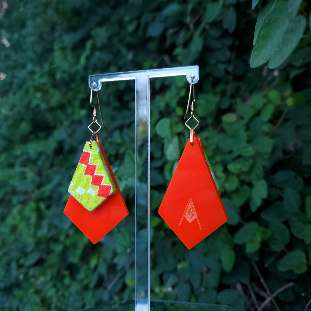 Electric Geometric - Textile Earrings Made from 1950s fabric and acrylic. By Austin designer Anne Marie Beard.