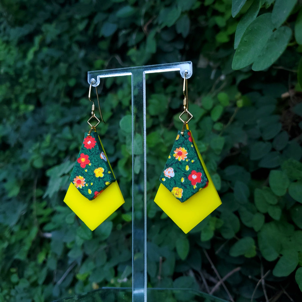 Spring Flowers - Textile Earrings Made from 1980s fabric and acrylic. By Austin designer Anne Marie Beard.