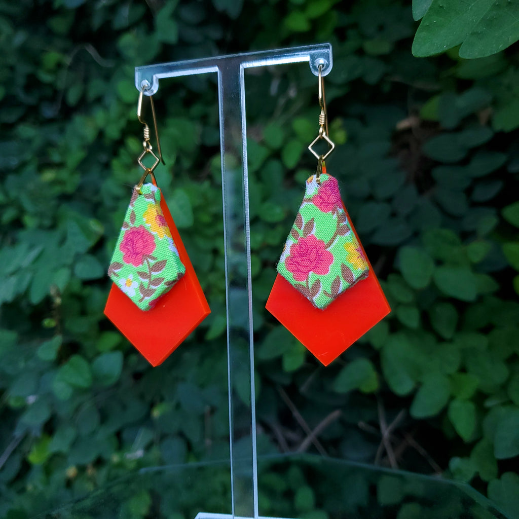 Rosy - Textile Earrings Made from 1950s fabric and acrylic. By Austin designer Anne Marie Beard.
