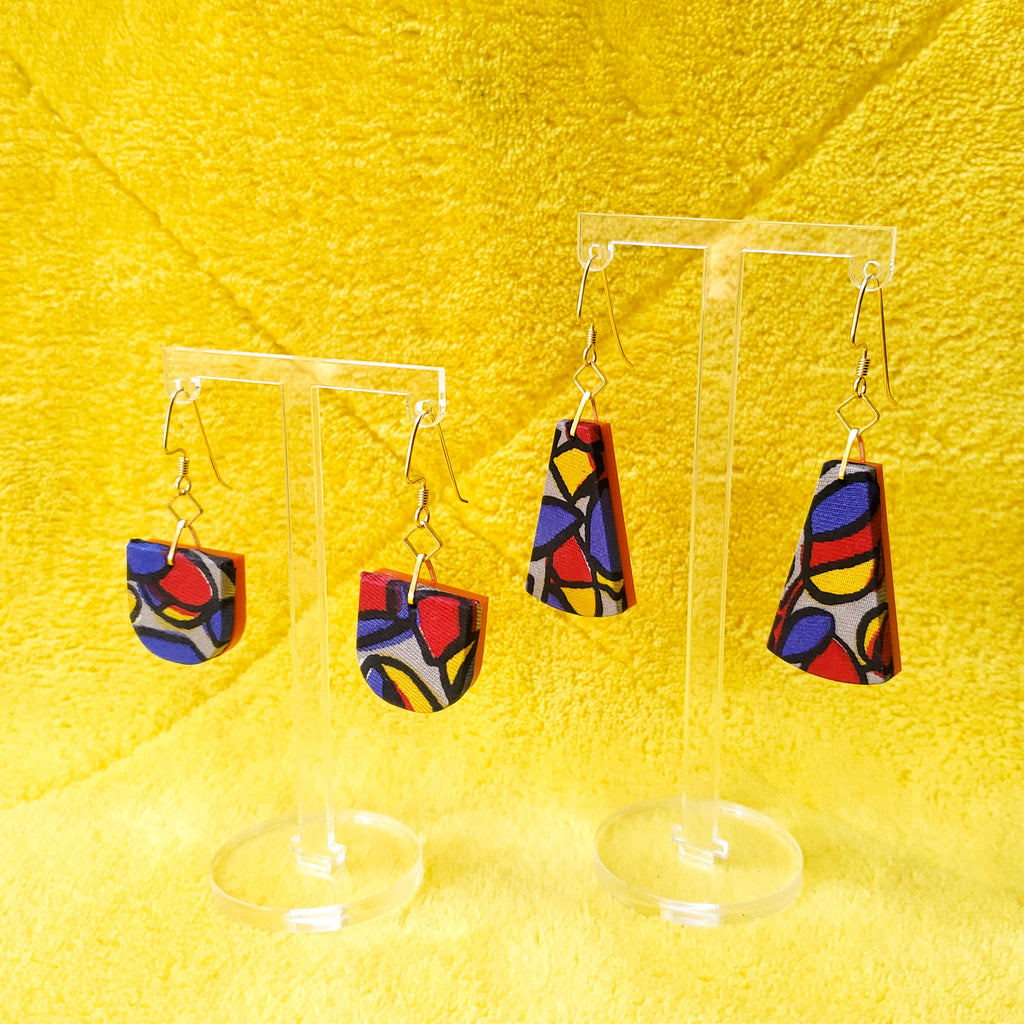 1950s Stained Glass print vintage Textile Earrings made from recycled clothing. Handmade by jewelry designer Anne Marie Beard in Austin, Texas.
