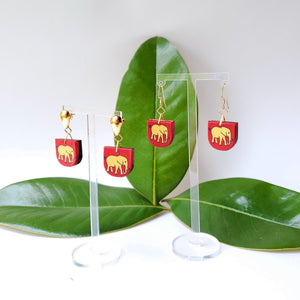 Textile Earrings - Elephants