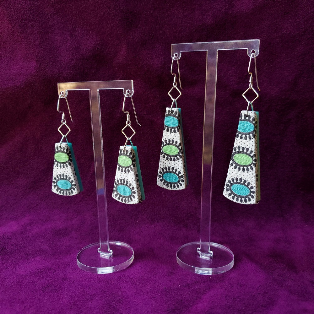 1950s Egyptian Eyes Sustainable Textile Earrings made from vintage fabric. Handmade by jewelry designer Anne Marie Beard in Austin, Texas.