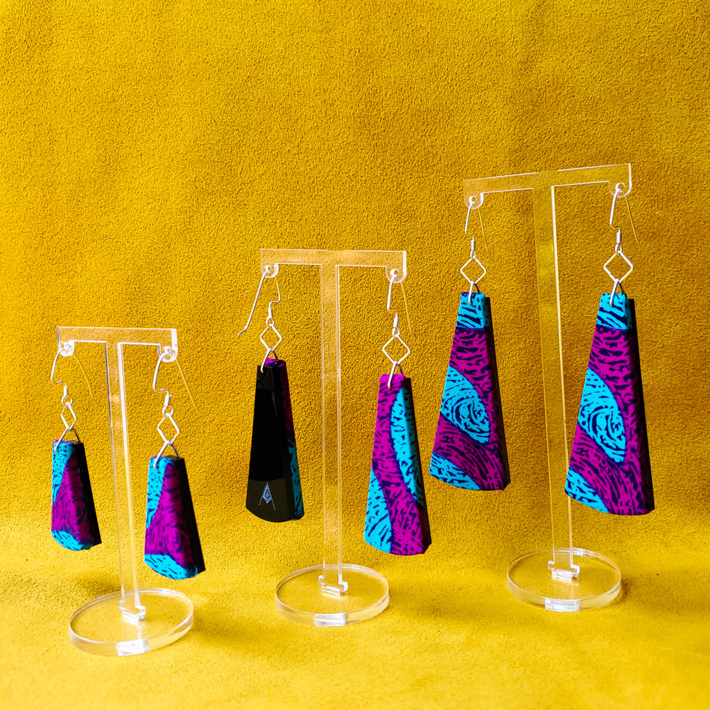 Plum Party Sustainable Textile Earrings made from recycled clothing. Handmade by jewelry designer Anne Marie Beard in Austin, Texas.